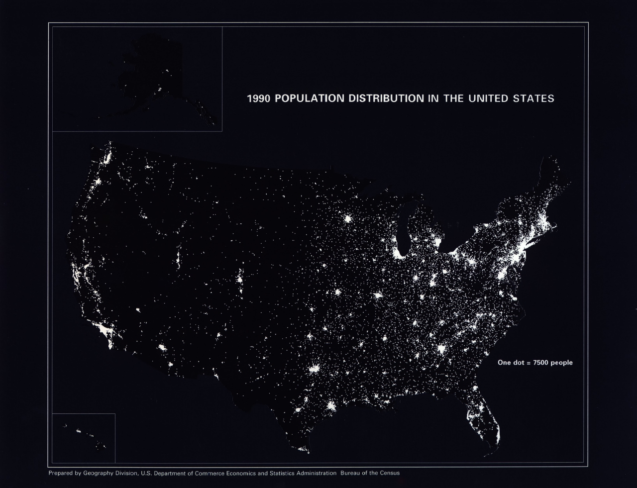 Population Distribution In The United States Geography - Us at night map